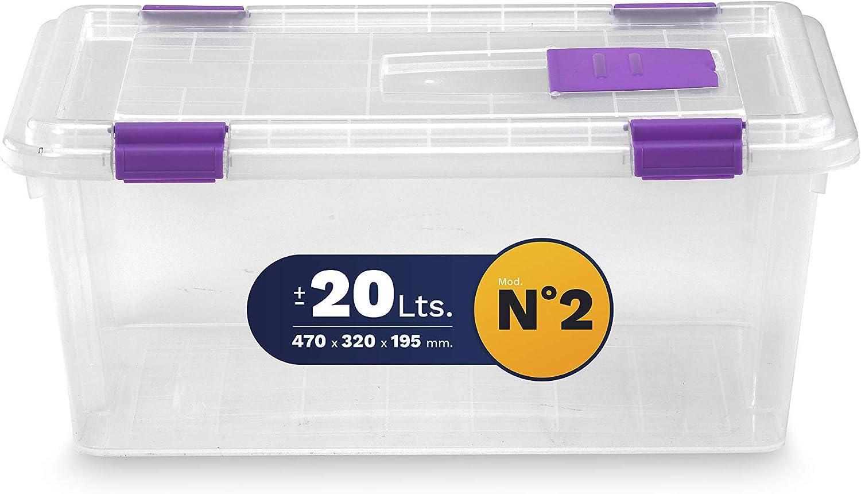 TODO HOGAR Caja Almacenaje pl/ástico Transparente Natural 470X320X195-20 litros 2
