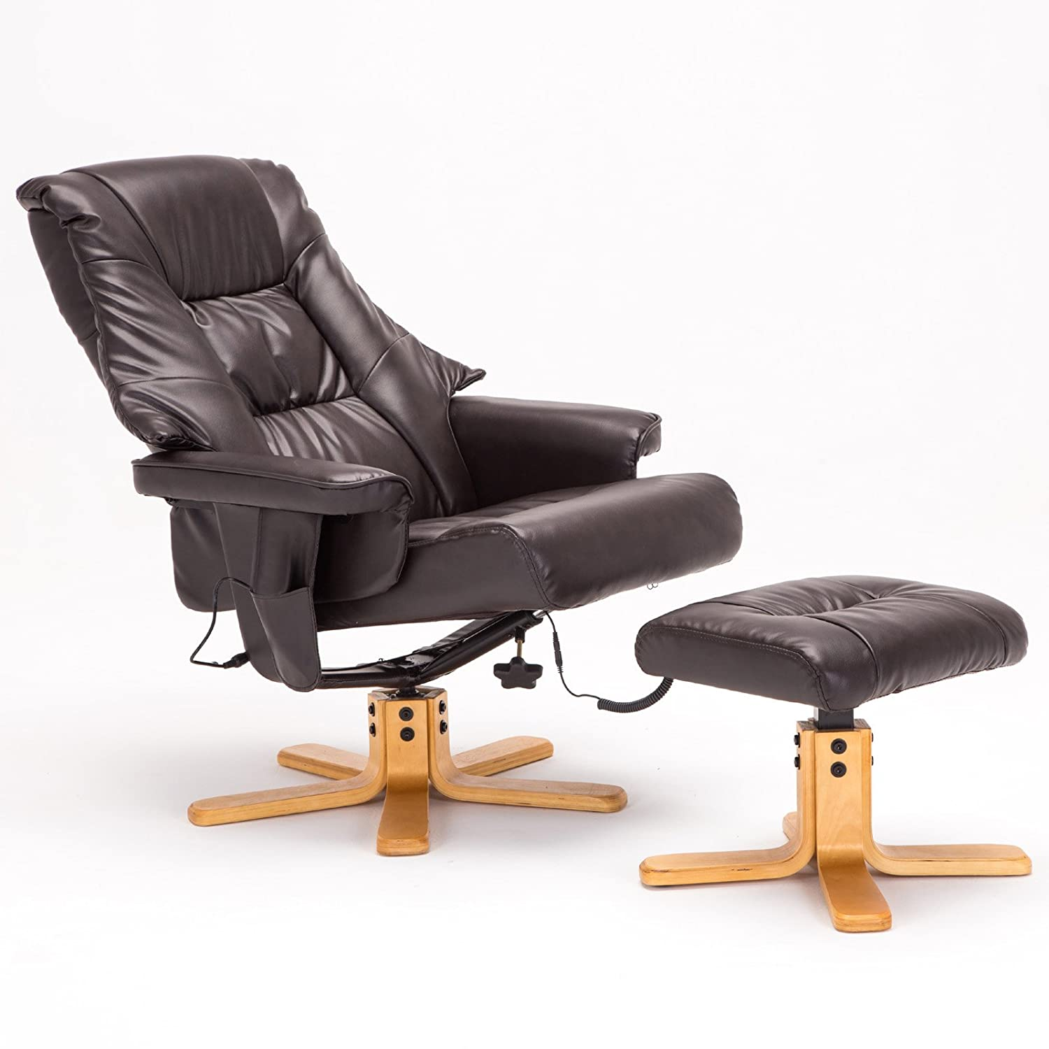 Amazon.com SGS Leather Massage Recliner Chair with Ottoman set Brown Kitchen u0026 Dining  sc 1 st  Amazon.com & Amazon.com: SGS Leather Massage Recliner Chair with Ottoman set ... islam-shia.org