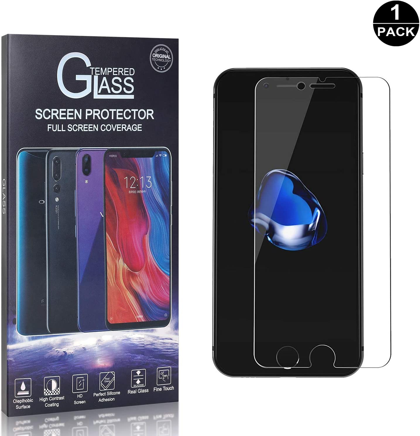 9H Hardness Anti-Fingerprint 1 Pack iPhone 7 // iPhone 8 Screen Protector Tempered Glass for Apple iPhone 7 // iPhone 8 Crystal Clear Anti-Scratch Ultra HD UNEXTATI