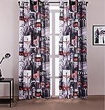 yiyida semi Motif Londres anti-froid Panneaux Rideau thermique pour salon chambre 1Paire 140cm largeur: 160cm, multicolore, 1.4m width x1.6m Drop