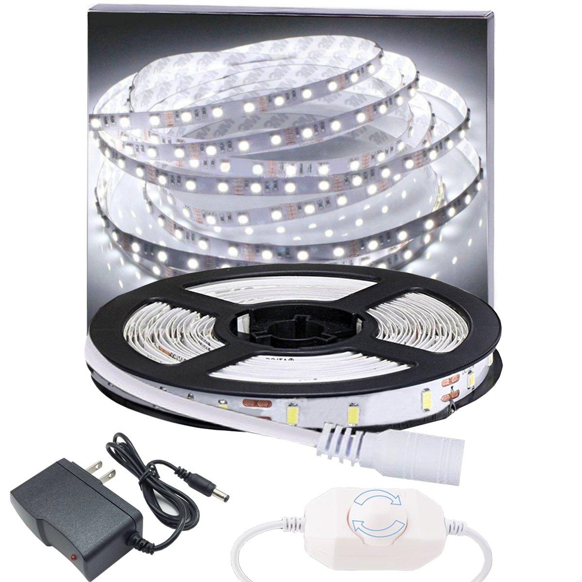Dimmable LED Light Strip Kit 6000K Daylight White 13ft 240 LEDs Non-Waterproof LED Tape