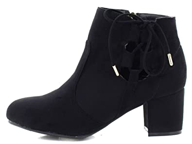 Black Mid Heel Microfiber Fabric Ankle Booties With Side Lace For Women