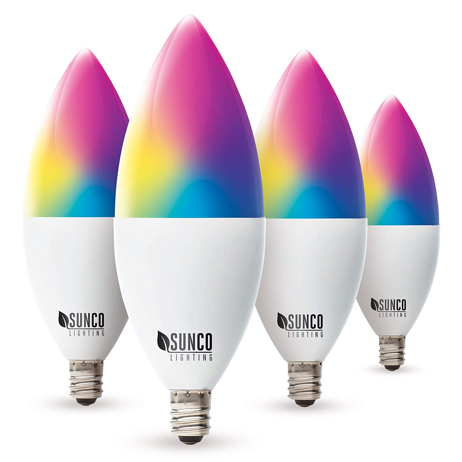 Sunco Lighting 4 Pack WiFi LED Smart Bulb, B11 Candelabra, 4.5W, E12 Base, Color Changing (RGB & CCT), Dimmable, Compatible with Amazon Alexa, Google Assistant & Apple HomeKit - No Hub Required
