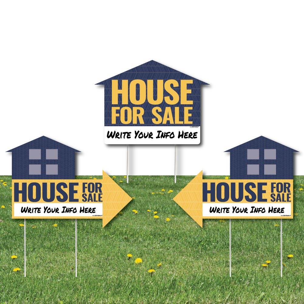 Big Dot of Happiness House For Sale Sign - Yard Sign with Stakes - Double Sided Outdoor Lawn Sign - Set of 3