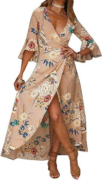 Dress Women Summer Long Sleeve Boho Beach Party Dress