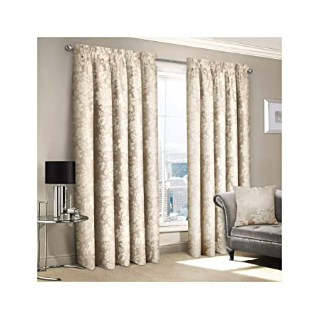 Cushions Curtains & Pelmets Floral Jacquard Tape Top Ready Made Fully Lined Pencil Pleat Curtains Home, Furniture & DIY