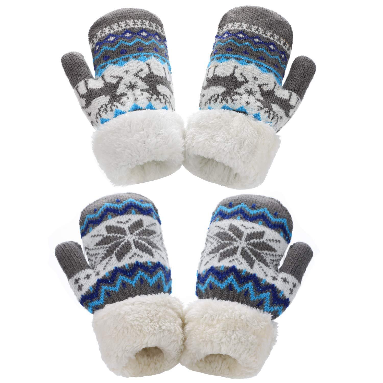 2 Paia Toddler Sherpa Lined Winter Warm Gloves per Le Ragazze dei Ragazzi AYPOW Knit Mittens