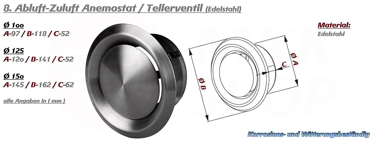 Anemostat Abluft 100 125 150 Edelstahl Tellerventil Deckenventil Luftregulierung