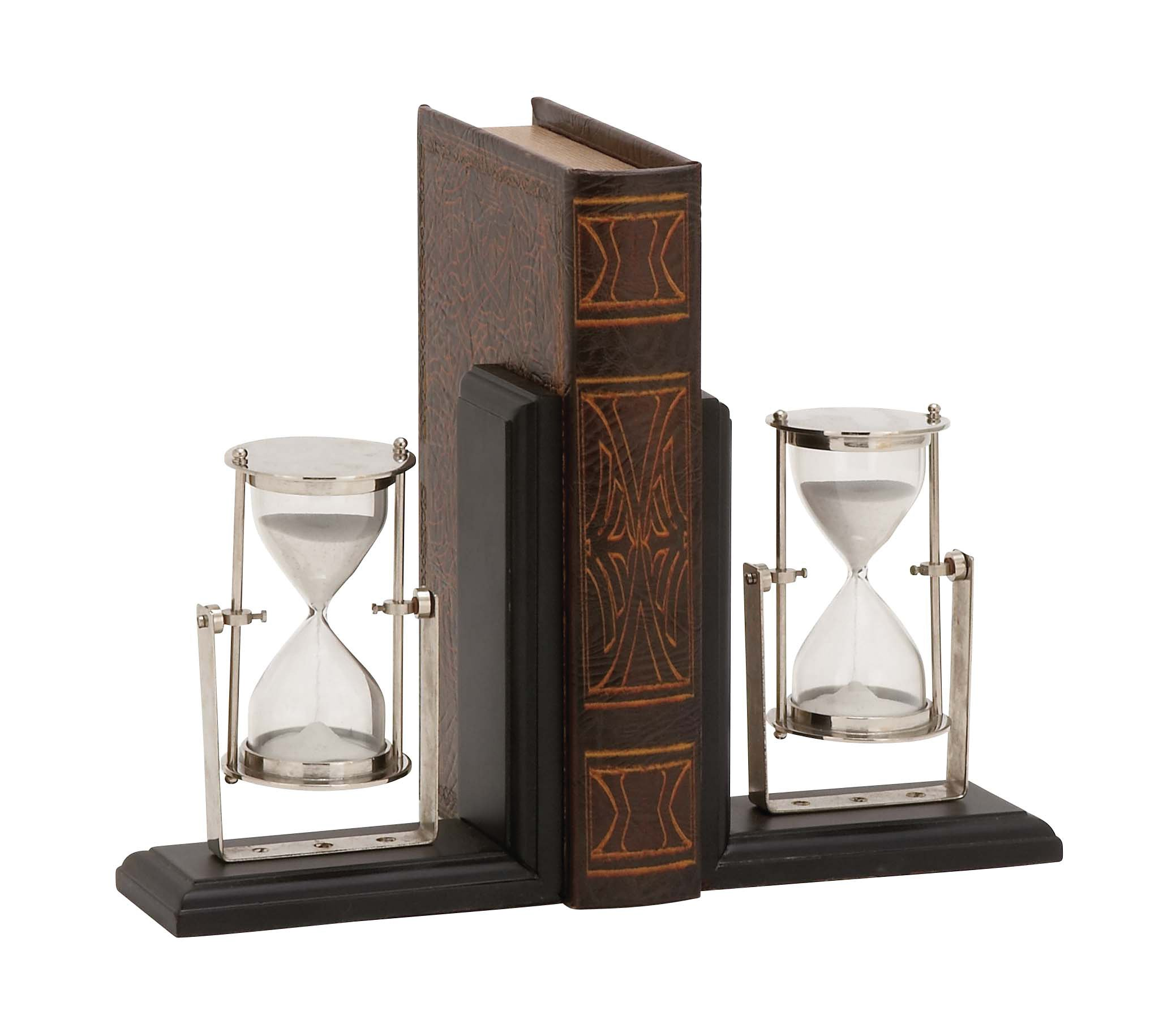 Plutus Brands Eye-Catching Customary Styled Wood Metal Bookend Pair