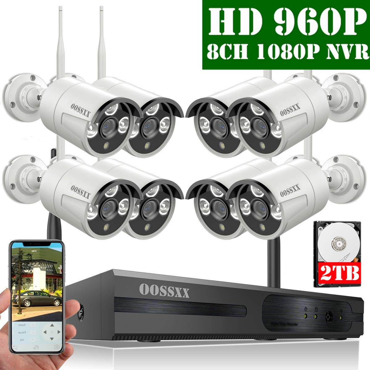 【2019 Update】 OOSSXX 8-Channel HD 1080P Wireless Security Camera System,8Pcs 960P 1.3 Megapixel Wireless Indoor/Outdoor IR Bullet IP Cameras,P2P,App, HDMI Cord & 2TB HDD Pre-Install by OOSSXX