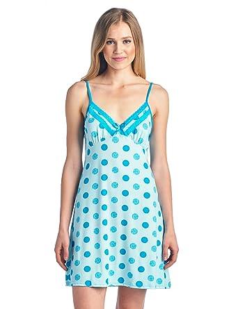 ce7cda5316 Casual Nights Women s Sleepwear Camisole Nightshirt Nightie - Aqua Dots -  Medium