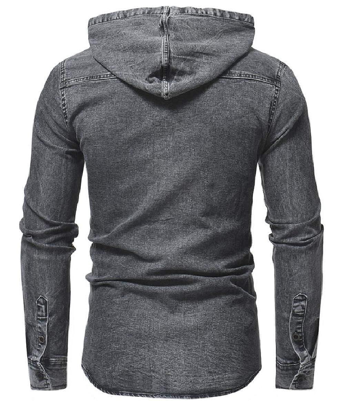 xiaohuoban Mens Casual Long Sleeve Hoodie Button Denim Shirt Jacket