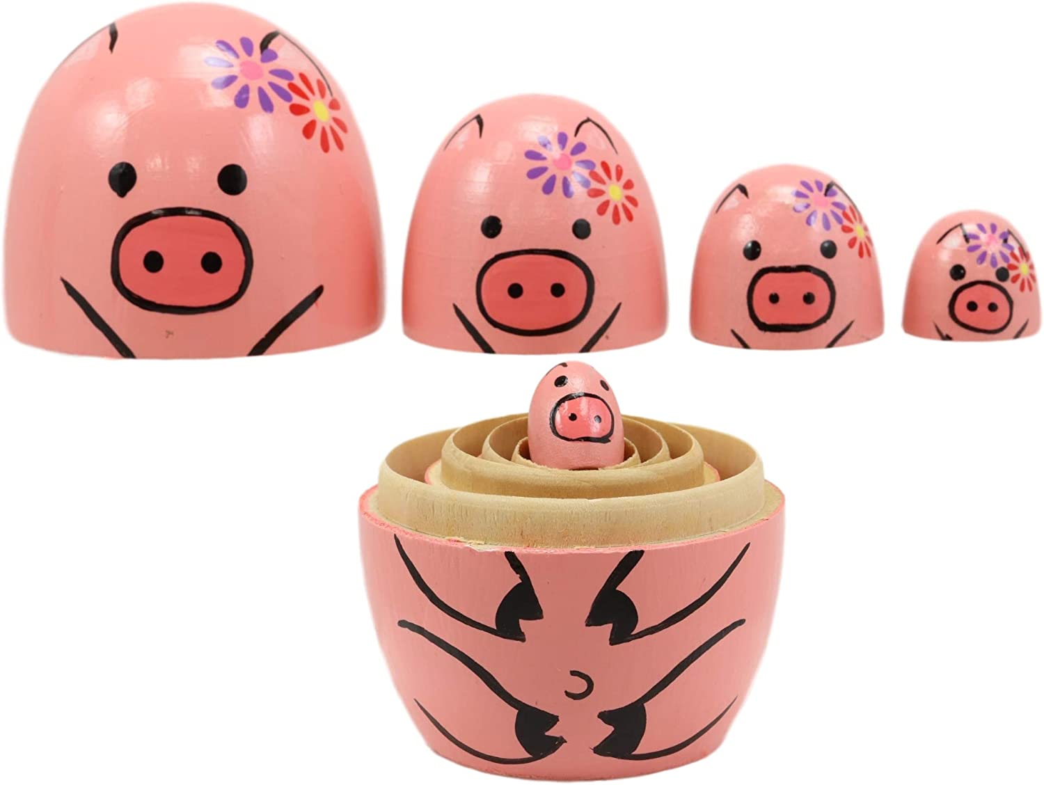 Ebros Gift Pink Porky Babe Pig Wooden Toy Stacking Nesting Dolls 5 Piece Set Hand Painted Wood Decorative Collectible Matryoshka Doll Toys for Children Christmas Mothers Day Birthday Gifts