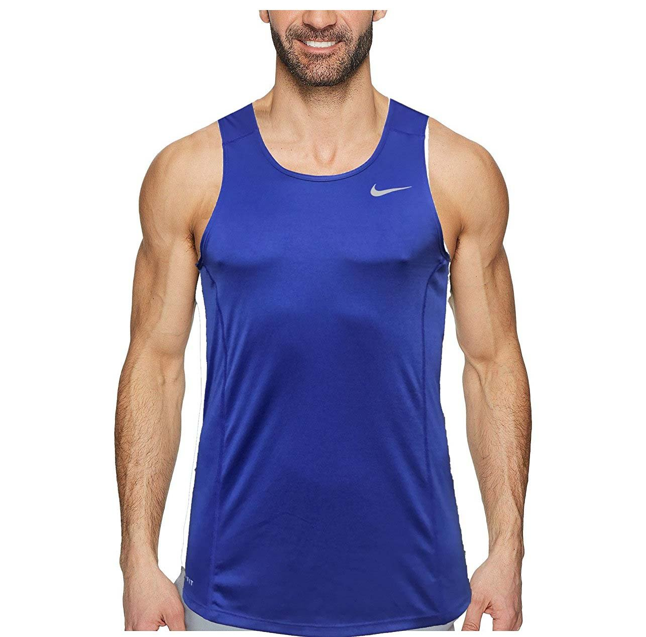 NIKE Dry Dri Fit Miller Tank Top Men's Sleeveless Running Shirt (X-Large, Paramount Blue)