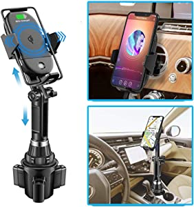 Lorima Wireless Car Charger,2-in-1 Cup Holder Phone Mount Charger Auto-Clamping Air Vent Phone Holder Compatible with iPhone 11/11Pro/11Pro Max/Xs Max/XS/XR/X/8/8+, Samsung S10/S10+/S9/S9+/S8/S8+