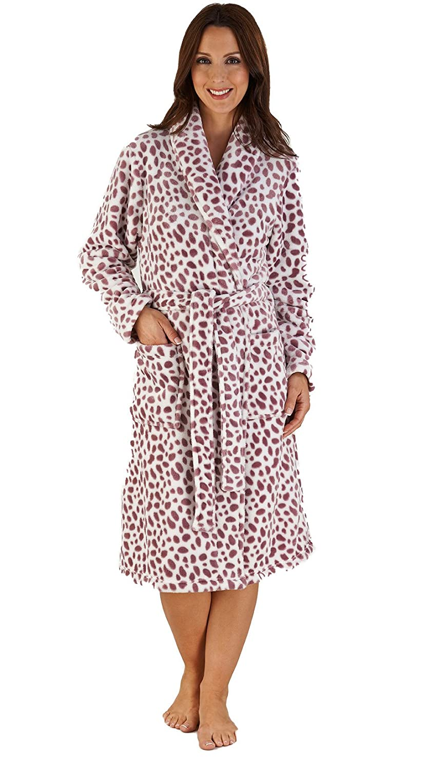 2e2f33f877 Slenderella Ladies Luxurious Soft Fleece Dressing Gown Wrap Around with  Pockets in Dalmatian Animal Print S-XL (Small
