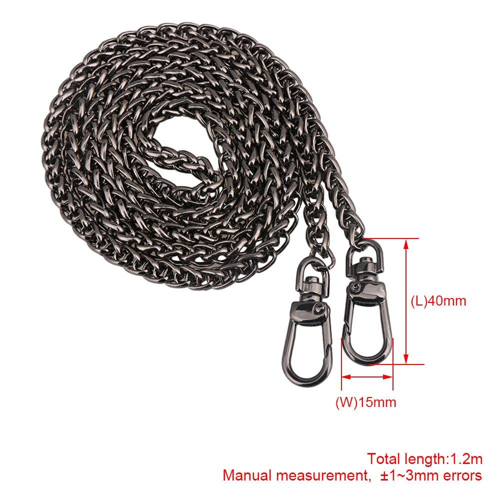 Yibuy 1.2m Matte Black Metal Buckles Handbags Replacement Chains Strap DIY