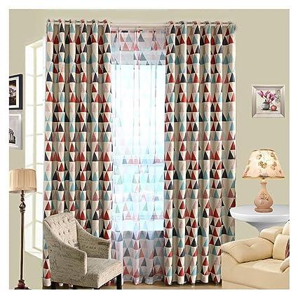 Majome géométrique personnalisée Rideau Contemporain Rideaux pour Le Salon  Chambre à Coucher ombrage Style Nordique, Polyester, Red, Perforated ...