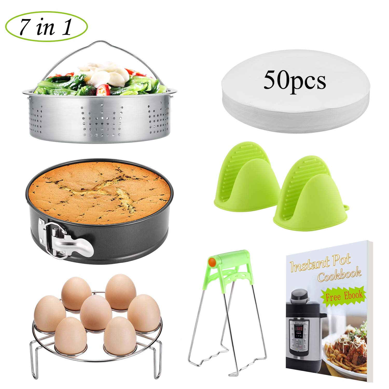 Instant Pot Accessories Set/Non-stick Springform Pan, Including Steamer Basket/Egg Steamer Trivet (Steaming Stand) / 50 Pcs Parchment Paper/Cooking Mitts/Dish Clip Fits 5,6,8Qt Instant (AP-01)