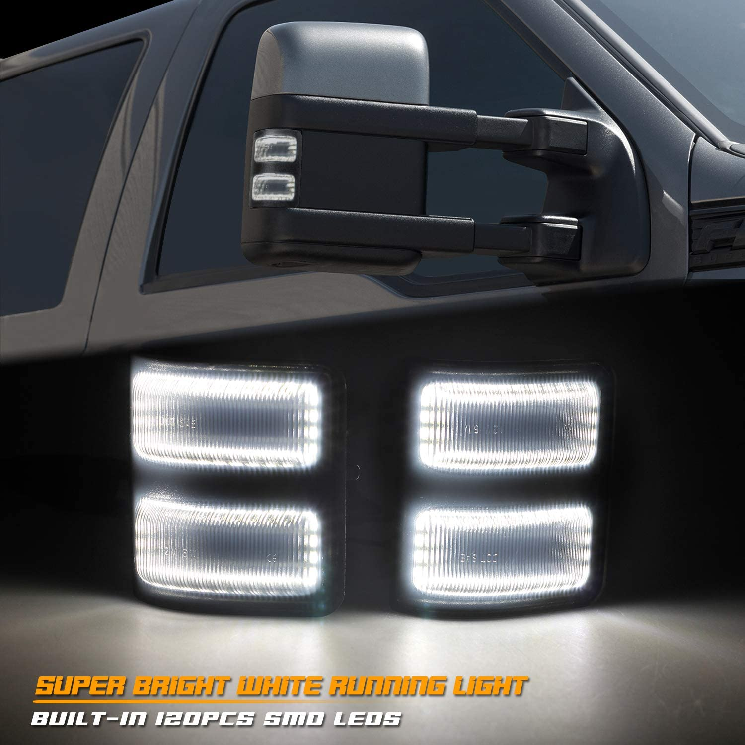 RUXIFEY Sequential Switchback Side Mirror Marker Lights 2-Row LED Turn Signals Compatible with Ford F250 F350 F450 Super Duty 2008-2016