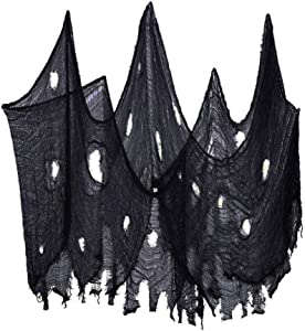QINGYUN Halloween Creepy Cloth, Spooky Giant (40 x236 in.) Cheese Cloth Tapestry for Halloween Party Supplies Decorations Outdoor Yard Home Wall Decor, Black