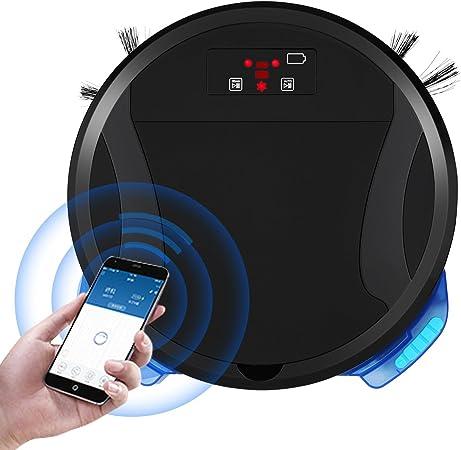 Robot aspirador con carga Función limpiadora, Preparado para robot aspirador programable WiFi Adecuado para el pelo de animal negro Negro: Amazon.es: Hogar