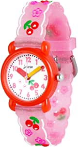 Wolfteeth Grade School Girls Analog Wrist Watch Water Resistant Sport Watch School Day Christmmas Gift Unique TransparencyWatchband 3083