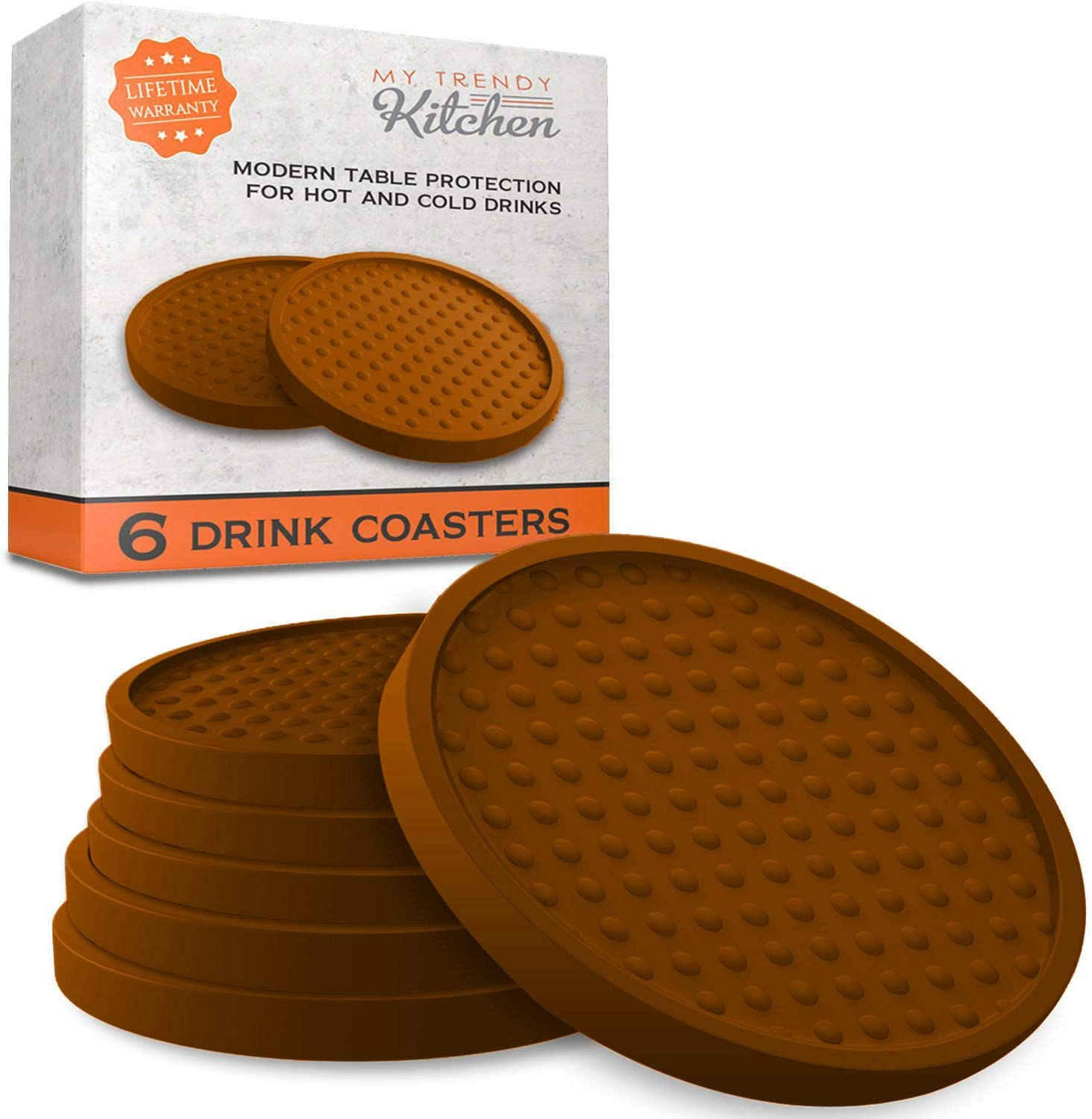 My Trendy Kitchen Large Drink Coasters - Absorbs Moisture and Prevents Table Damage, Modern Brown Rubber Coaster with Non-Slip Bottom for Drinking Glasses, 6 Pack