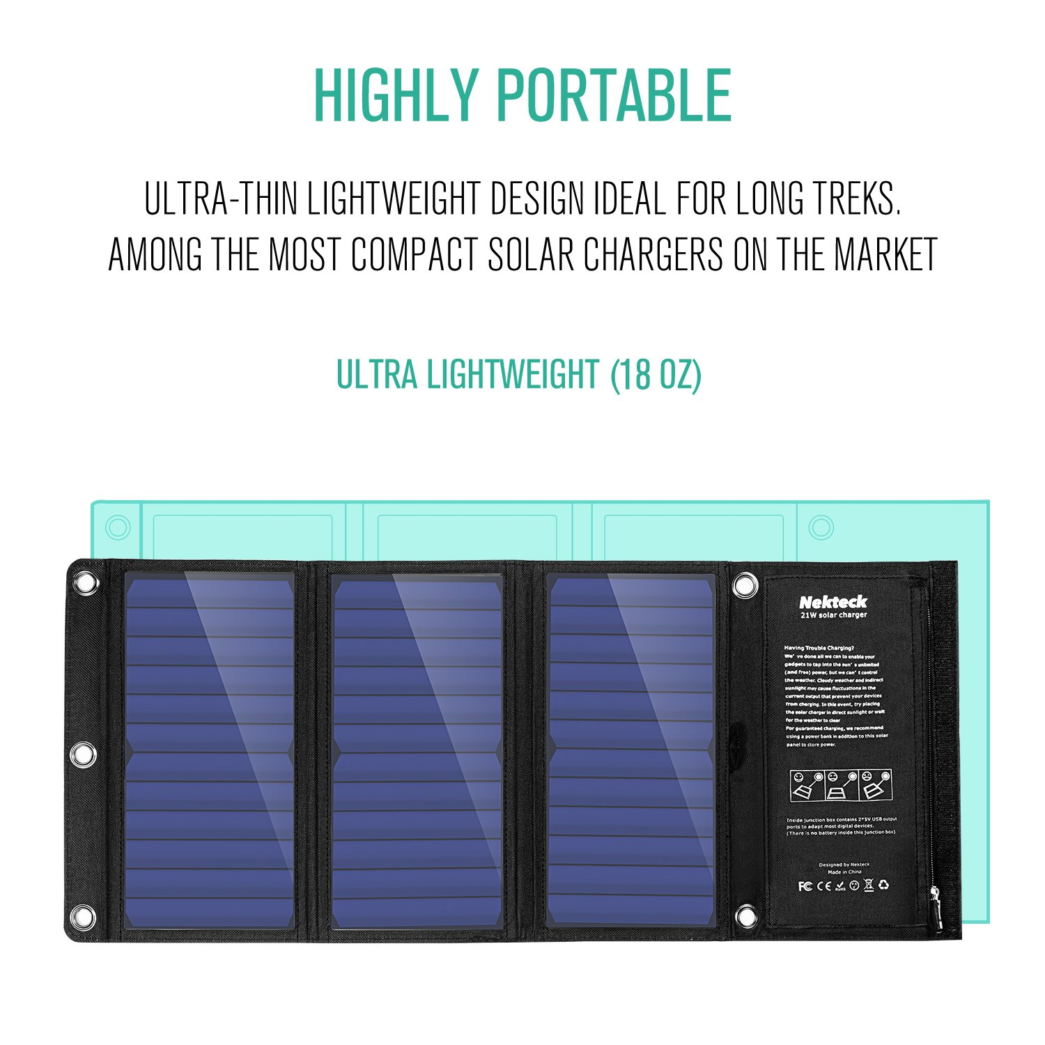 Nekteck 21W Solar Charger with 2-Port USB Charger Build with High Efficiency Solar Panel Cell for iPhone 6s / 6 / Plus, SE, iPad, Galaxy S6/S7/ Edge/Plus, Nexus 5X/6P, Any USB Devices, and More by Nekteck (Image #3)