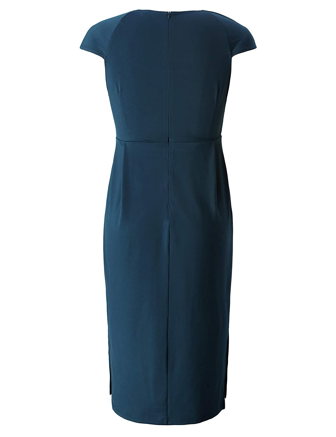 Casual Dress with Side Splits Calf Length Chicwe Womens Plus Size Designed Square Neck Dress