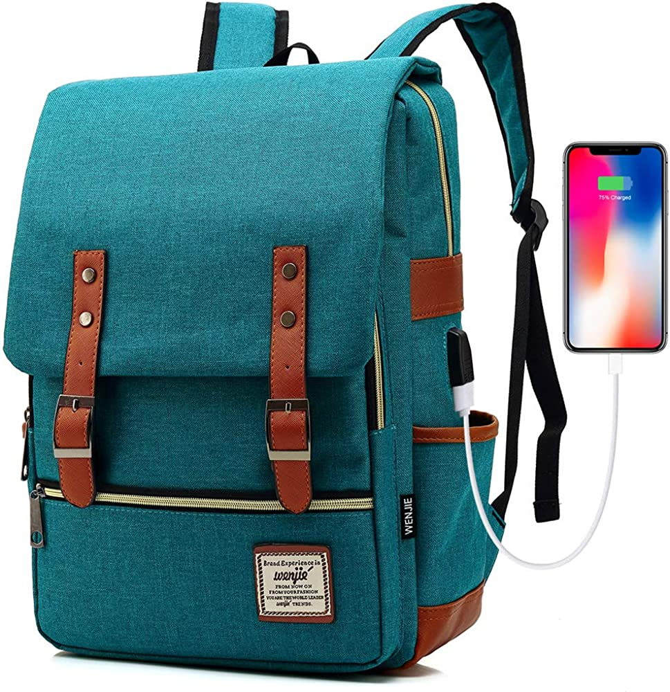 HITOP Travel Laptop Backpack, College Backpack, Vintage Fashion Travel Bag for Women Men Fits 15.6 Inch Laptop and Notebook