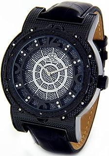 amazon com super techno watch diamond watch mens oversized black mens super techno diamond watch genuine diamond watch oversized black case leather band w 2