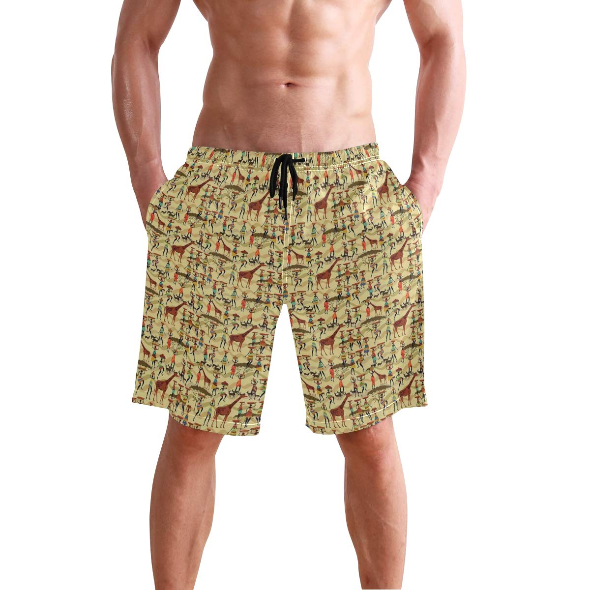 COVASA Mens Summer ShortsWoman Silhouette with Colorful Clothes and Pots Deer