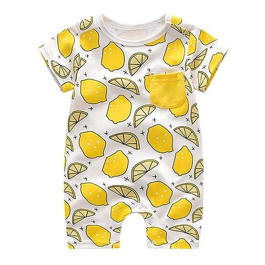 32f847505 Ding-dong Baby Boy Girl Summer Cotton Fruit Short Sleeve Romper(Lemon, 3