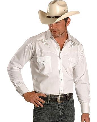 2bc6bb5298 ELY CATTLEMAN Men s Embroidered Rose Design Western Shirt - 15203901-88Blk  - White -