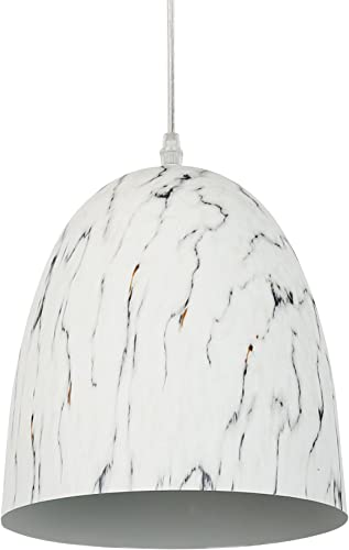 Light Society Castillo Pendant Light, Marble Finish with Gray Veining, Vintage Modern Lighting Fixture LS-C140