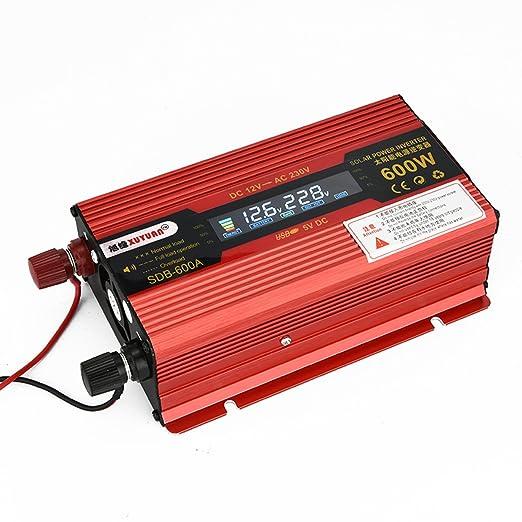Inversor convertidor Xagoo del cargador de 12V 220V 600W de potencia del inversor del coche fuente de alimentación de voltaje de 220V con pantalla LED
