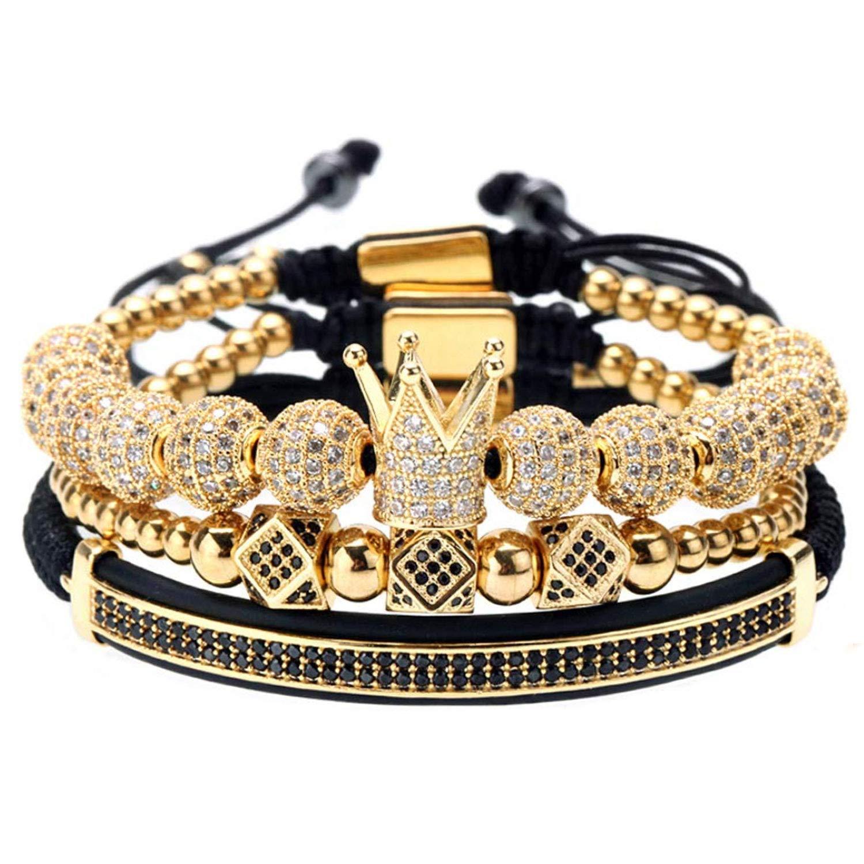 GVUSMIL Imperial Crown Gold Beads Stacked Bracelet 3pcs Set Royal King Style for Men Boys,Braided Adjustable
