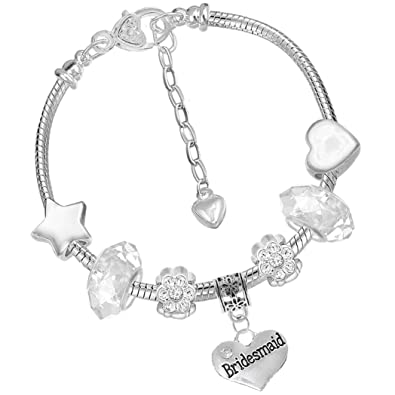 96eda4967 Bridesmaid Charm Bracelet and Thank You Card Gift Set Girls Wedding  Jewellery (1. Iced Silver): Amazon.co.uk: Jewellery