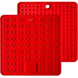 AINAAN 2 Pcs Square Premium Silicone Pot Holder,Trivets, Mitts,Heat Resistant Hot Pads, 7.28 Inch, Red