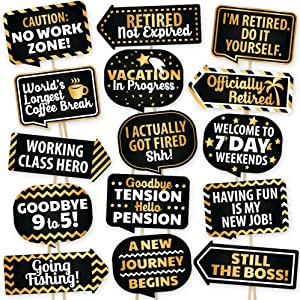 Retirement Photo Booth Props By PartyGraphix - European Made Retirement Party Supplies - Easy To Assemble Selfie Props - Retirement Party Decorations Kit Includes 15 Pieces