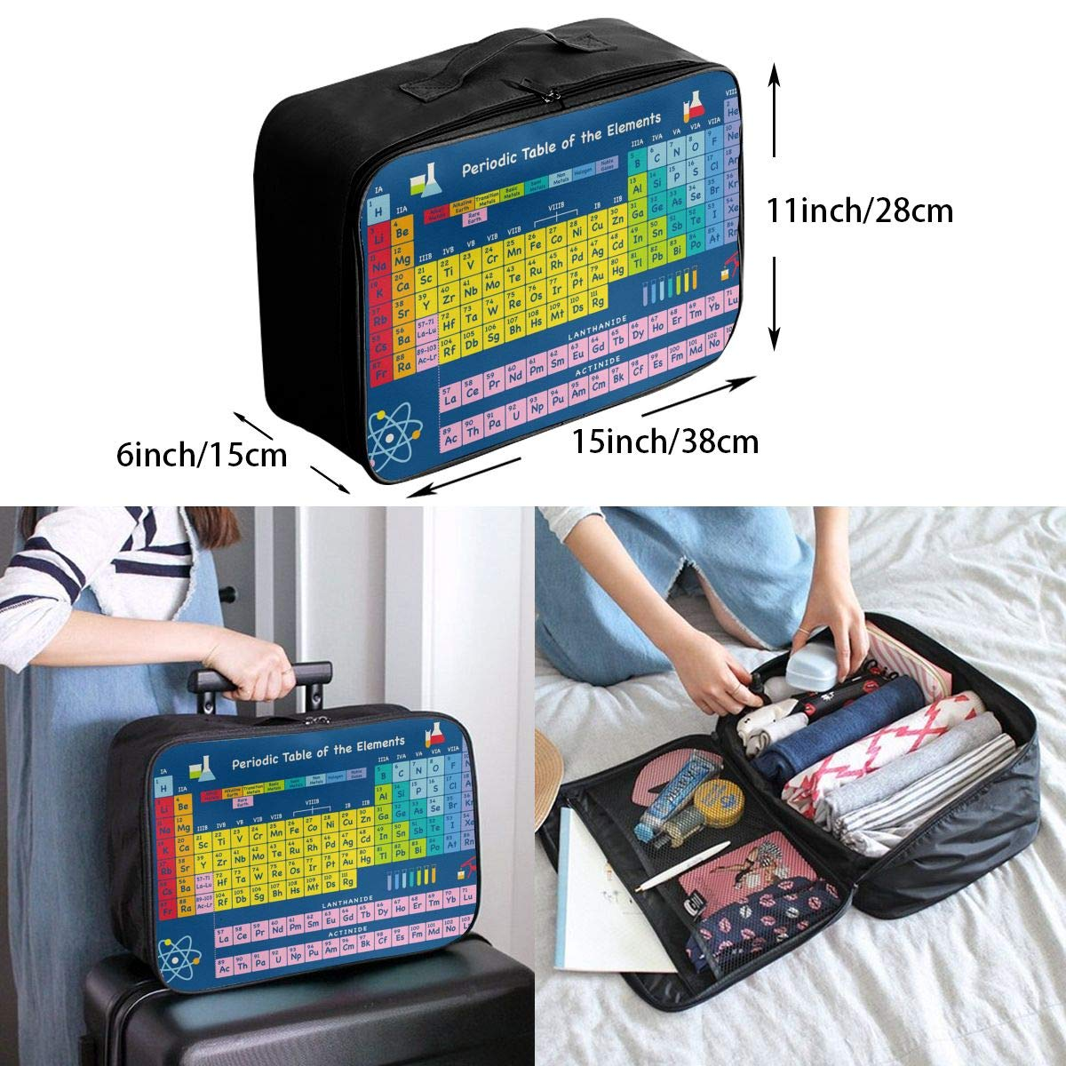 YueLJB Periodic Table Elements Lightweight Large Capacity Portable Luggage Bag Travel Duffel Bag Storage Carry Luggage Duffle Tote Bag