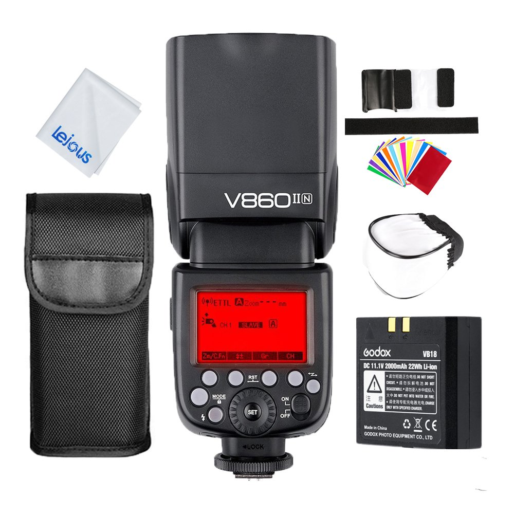 Godox V860II-N i-TTL 2.4G HSS 1/8000s GN60 Camera Flash Speedlite with Li-ion Battery for Nikon D750 D7100 D7000 D5200 D3200 D3100 (V860II Nikon)