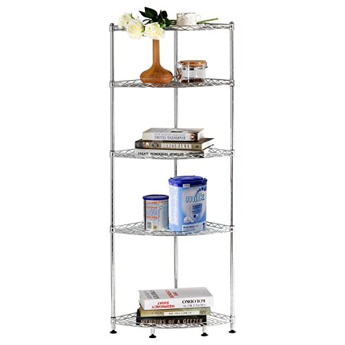 Lifewit Corner Shelf 5 Tiers Adjustable Metal Storage Wire Shelving Unit, Metal Storage Shelves Corner Rack for Living Room,Bathroom, Kitchen