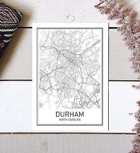Amazon Com Durham Poster Durham Map Map Of Durham City Map