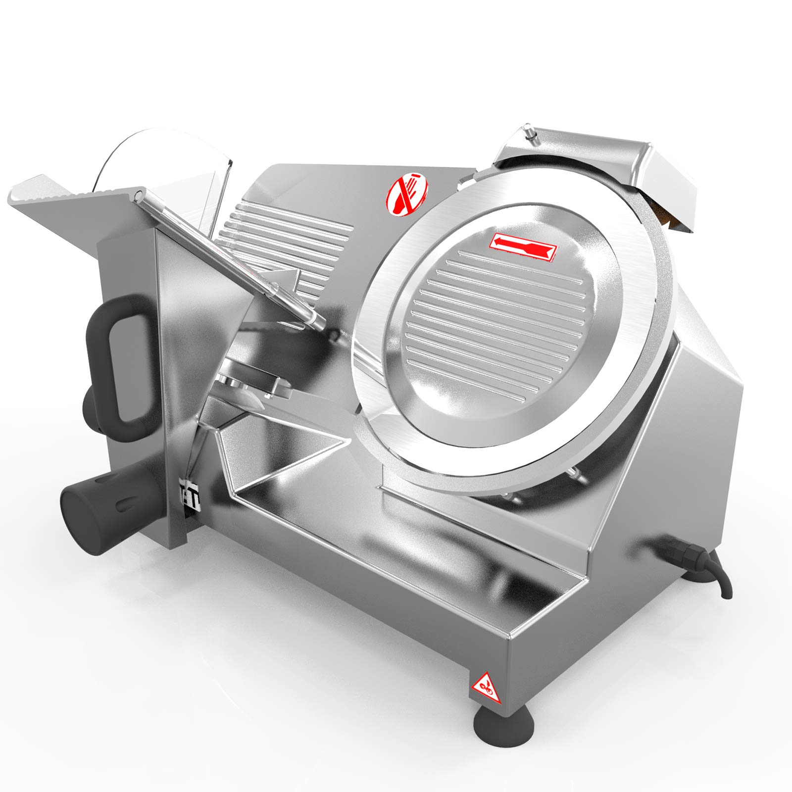 KUPPET 8'' inch Stainless Steel Electric Meat Slicer Premium Chromium-plated Carbon Steel Blade, Home Kitchen Deli Meat Food Vegetable Cheese Cutter, Commercial Coffee Shop/restaurant and Home Use 240W Low Noises by KUPPET