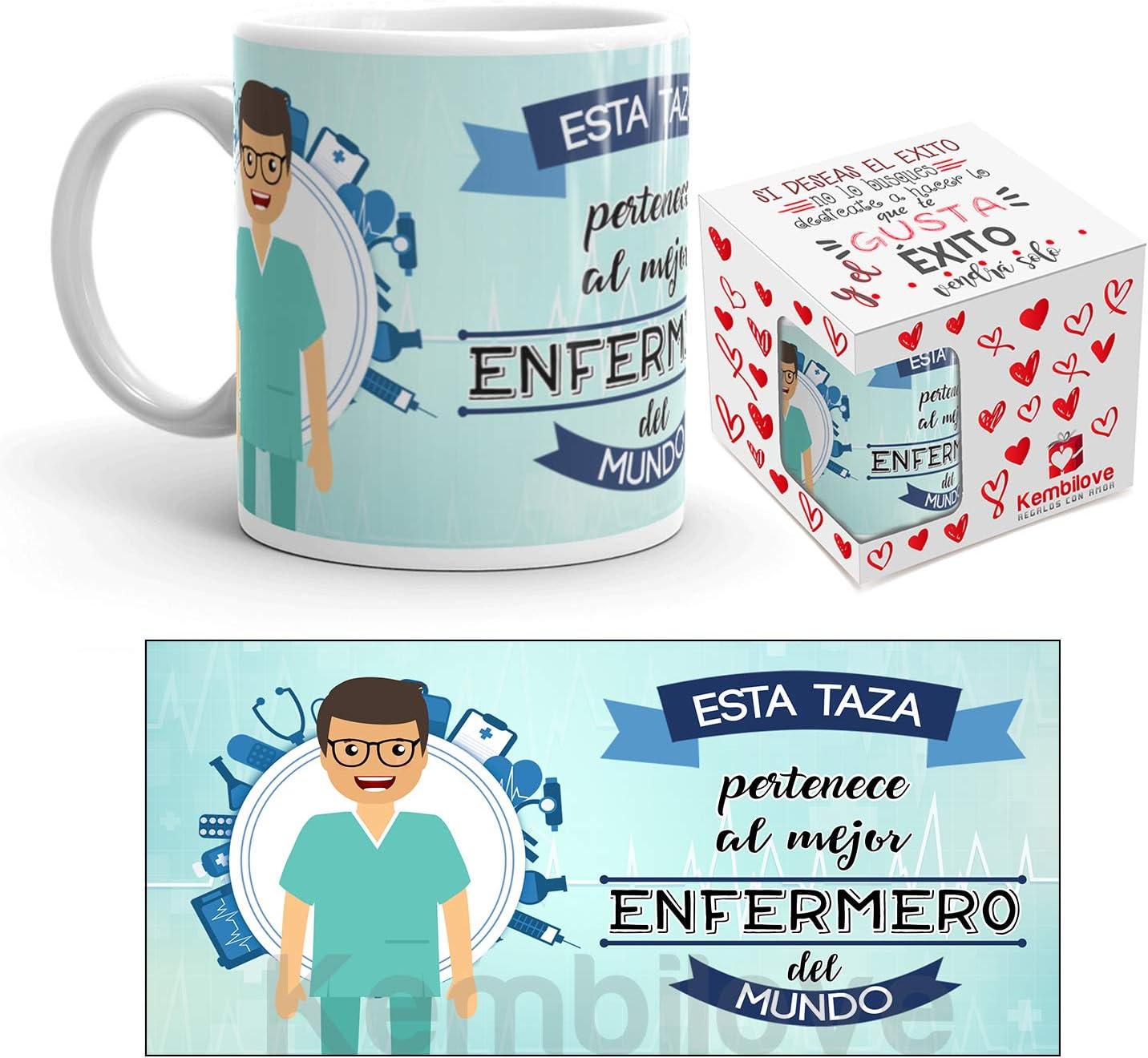 Kembilove Taza de Café del Mejor Enfermero del Mundo – Taza de Desayuno para la Oficina – Taza de Café y Té para Profesionales – Taza de Cerámica Impresa – Tazas de Jefe de 350 ml para Enfermeros