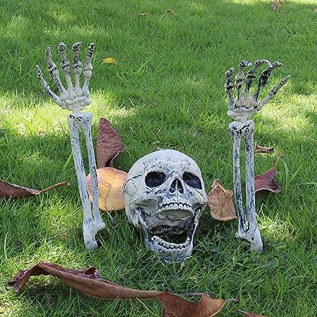 Qeedio Halloween Dekoration 3 Stuck Realistische Skelett Vergraben Kopf Und Hande Kunststoff Horror Skeleton Schadel Dekorationen Fur Halloween Party Garten Hof Dekoration Amazon De Garten