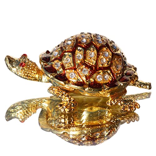 1d523dce96e Amazon.com  Waltz F Trinket Boxes Hinged Crystals Jewelry Box with Gift Box  Golden Turtle Figurines  Jewelry