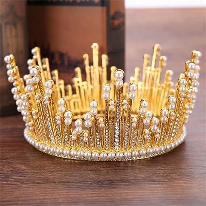 Weddwith Pelo Adornos Tocado modelado estilo de la joyería novia corona perla redonda al por mayor